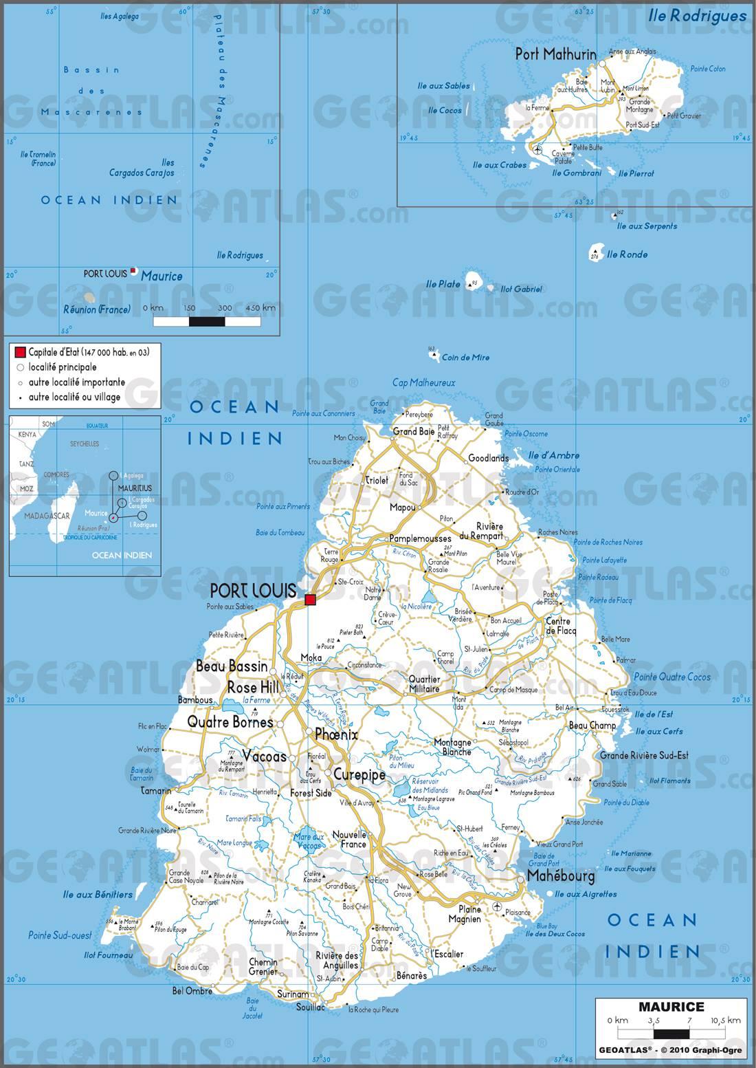 Carte routière de l'Île Maurice