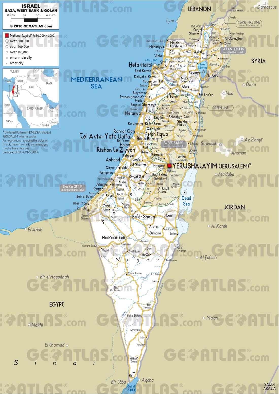 Carte d'Israël   Cartes du pays du Moyen Orien (villes