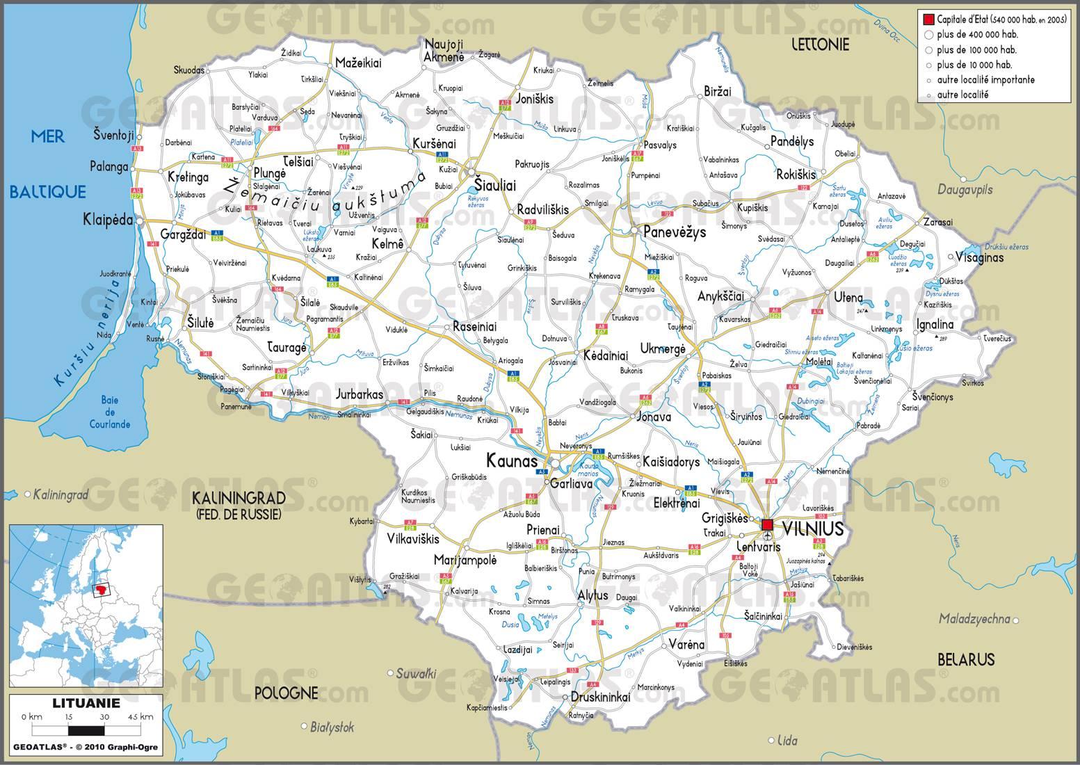 Carte routière de la Lituanie