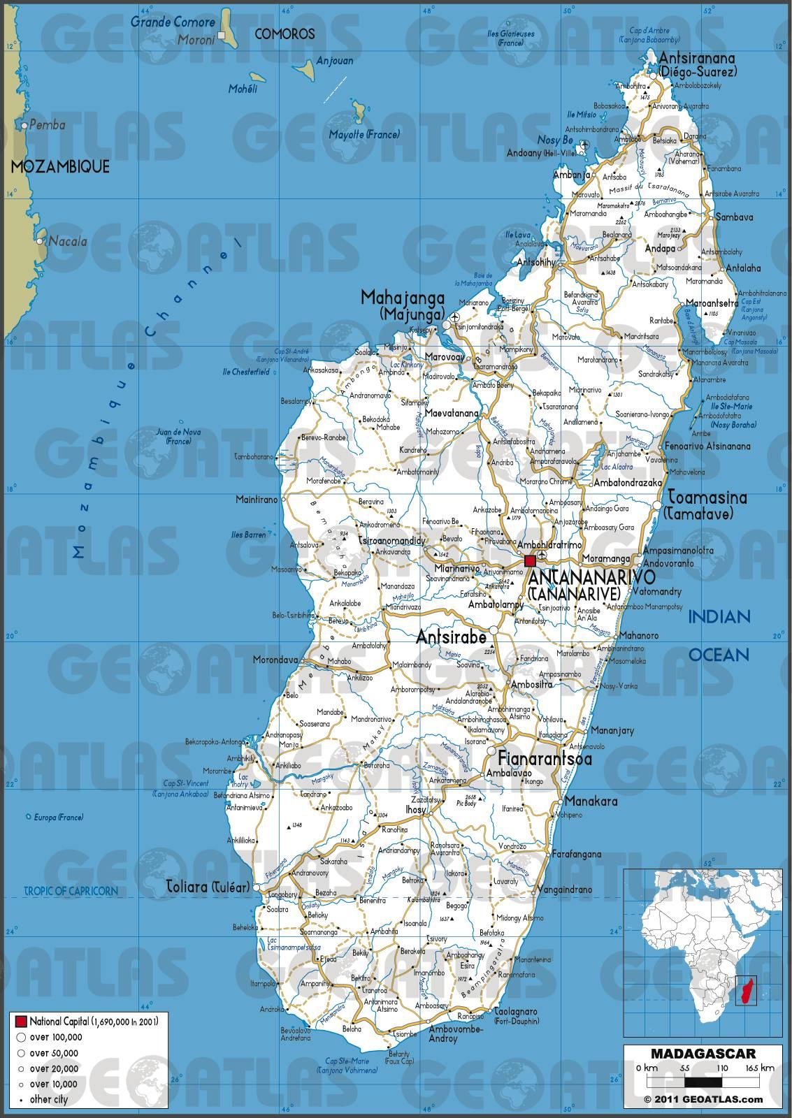 Carte routière de Madagascar