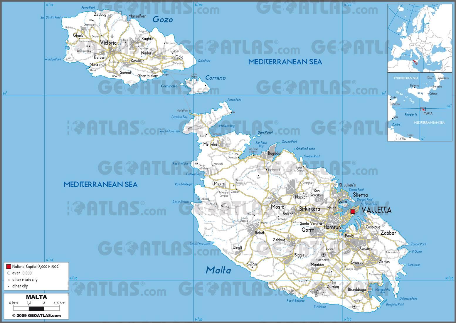 Carte de Malte - Plusieurs carte de l'île dans la méditérranée
