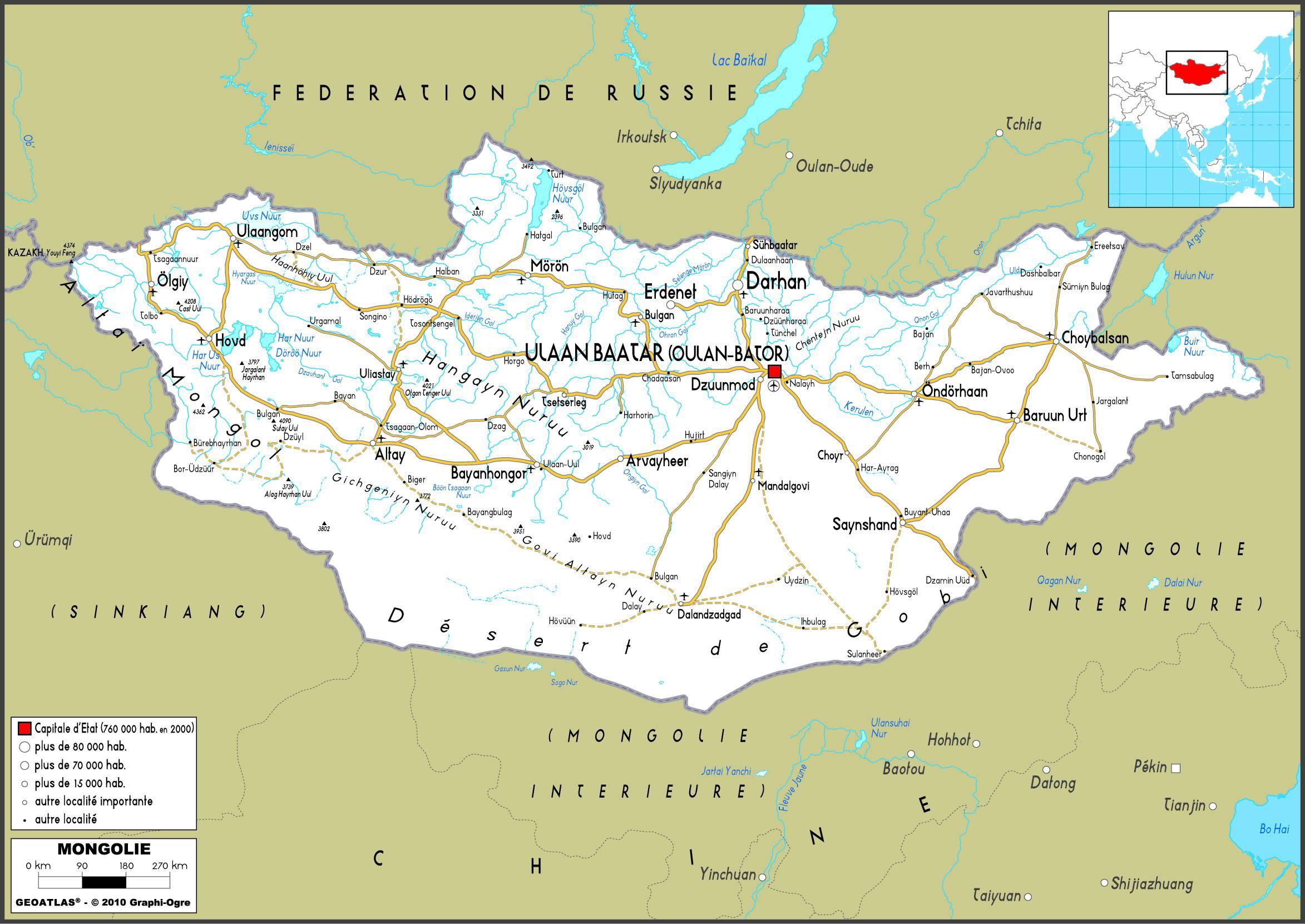 Carte routière de la Mongolie