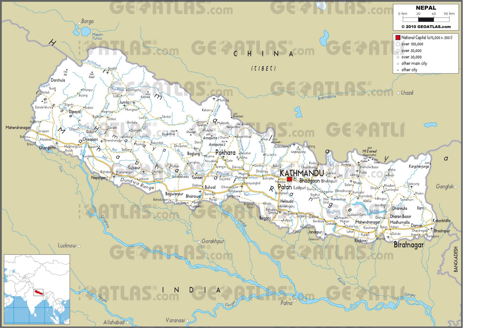 Carte routière du Népal