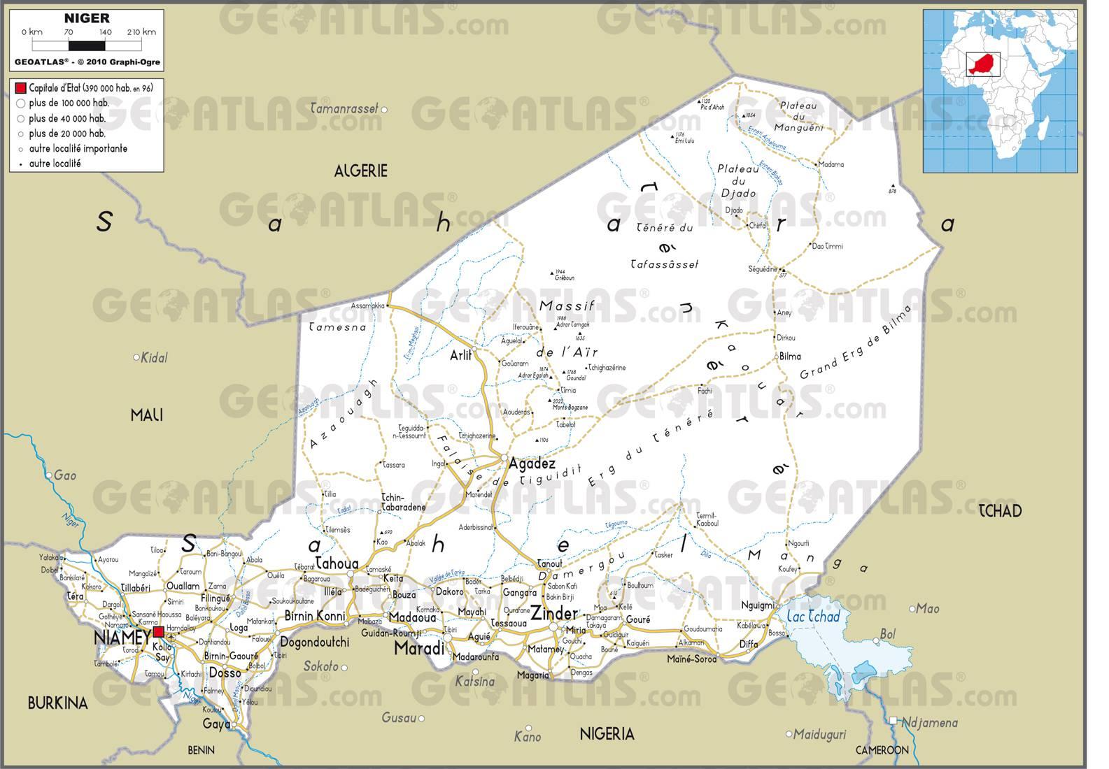Carte routière du Niger