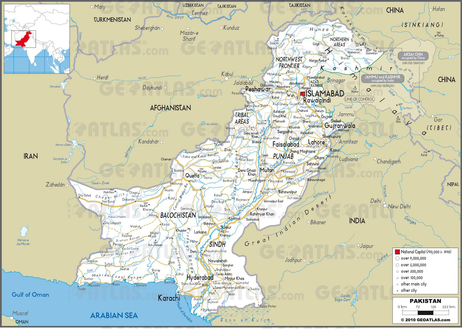 Carte routière du Pakistan