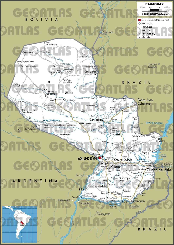 Carte routière du Paraguay