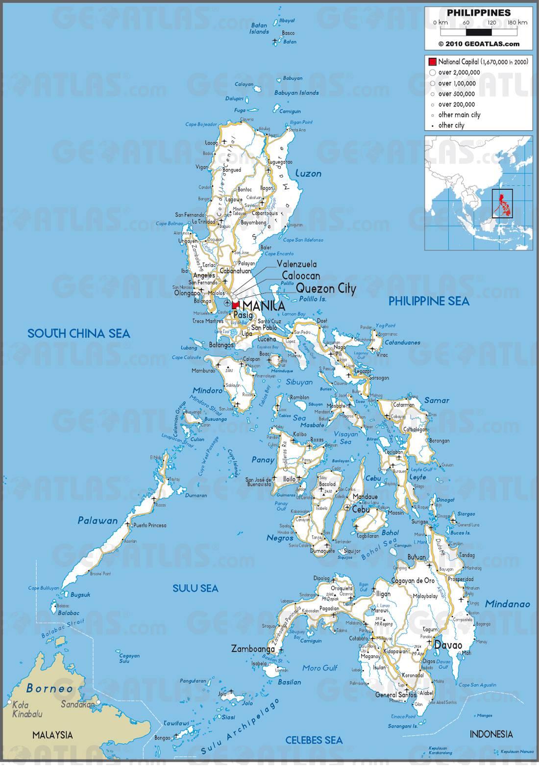 Carte routière des Philippines