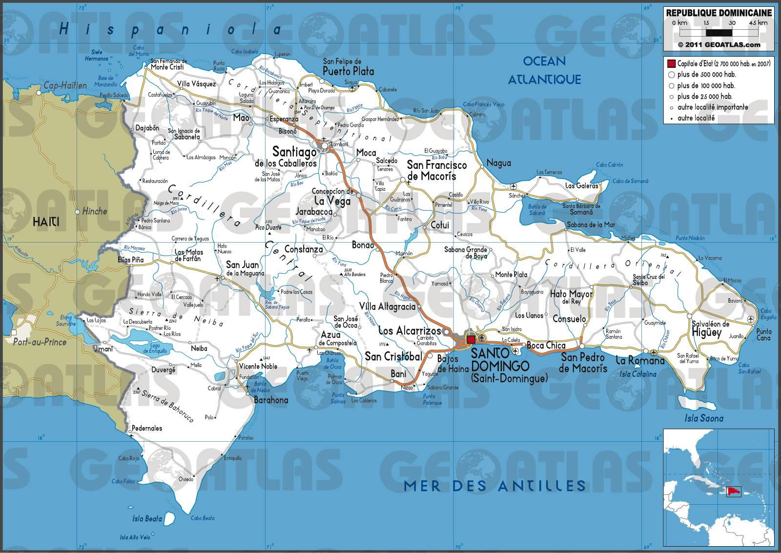 Carte routière de la République dominicaine
