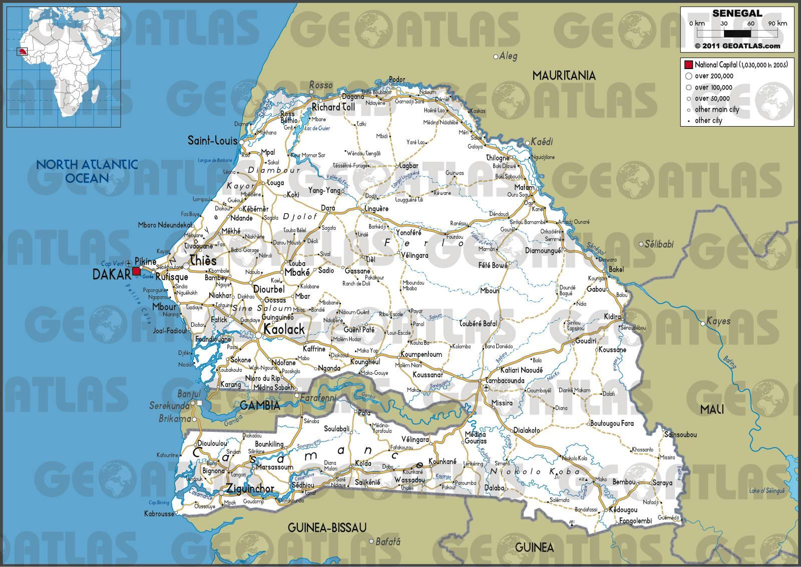 Carte routière du Sénégal