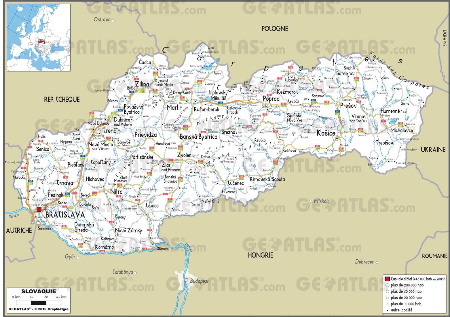 Carte routière Slovaquie