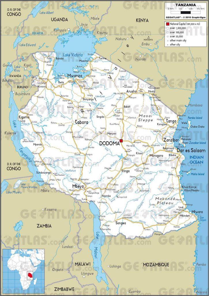 Carte routière de la Tanzanie