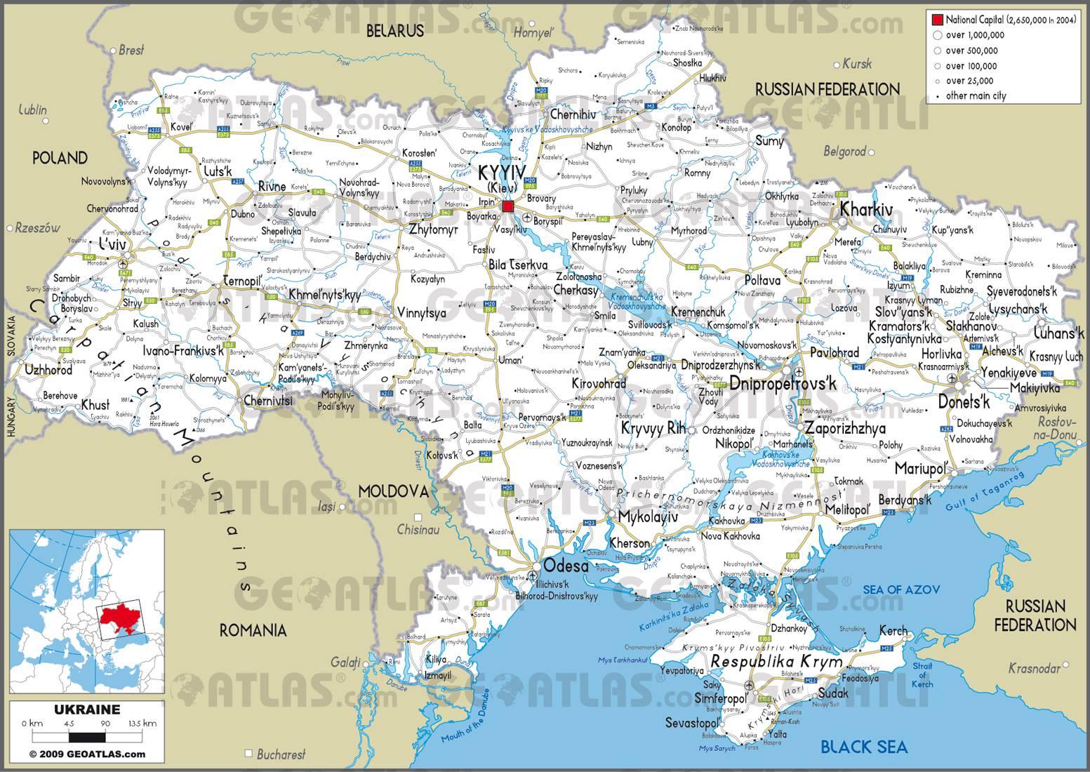 Carte routière de l'Ukraine