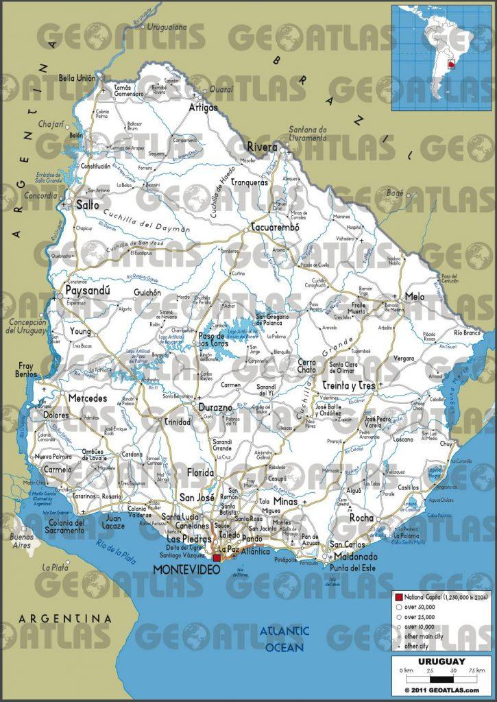 Carte routière de l'Uruguay