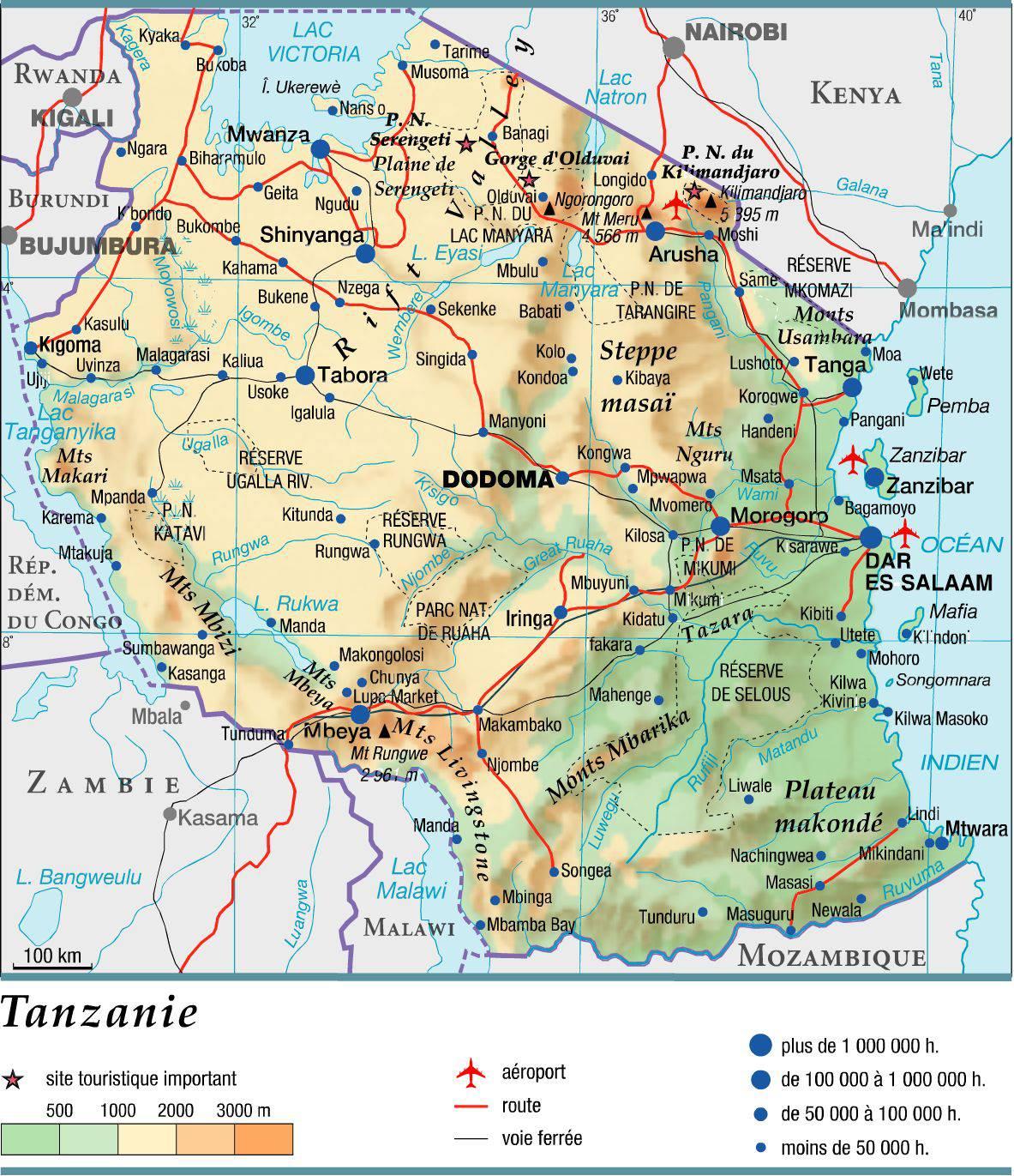 Carte de la Tanzanie