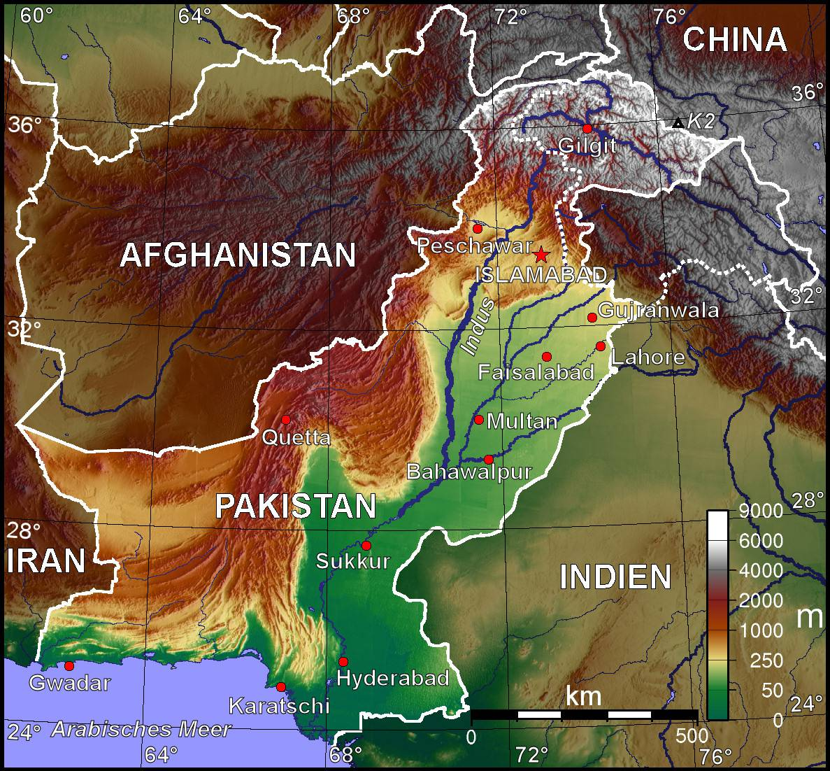 Carte topographique du Pakistan