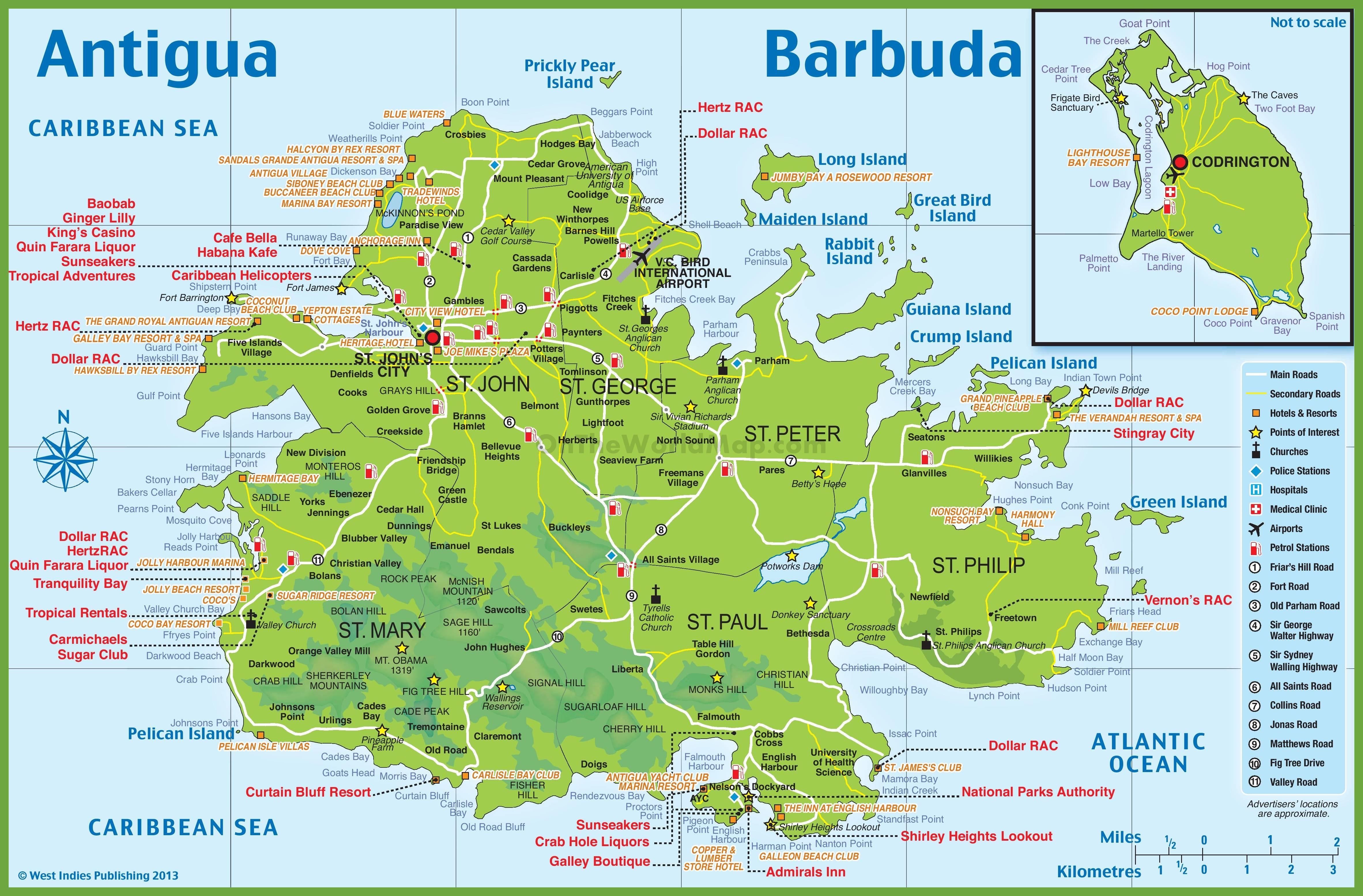 Carte d'Antigua et Barbuda   Plusieurs cartes du pays en Amérique