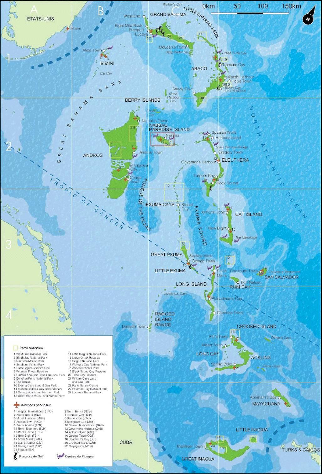 Carte touristique des Bahamas