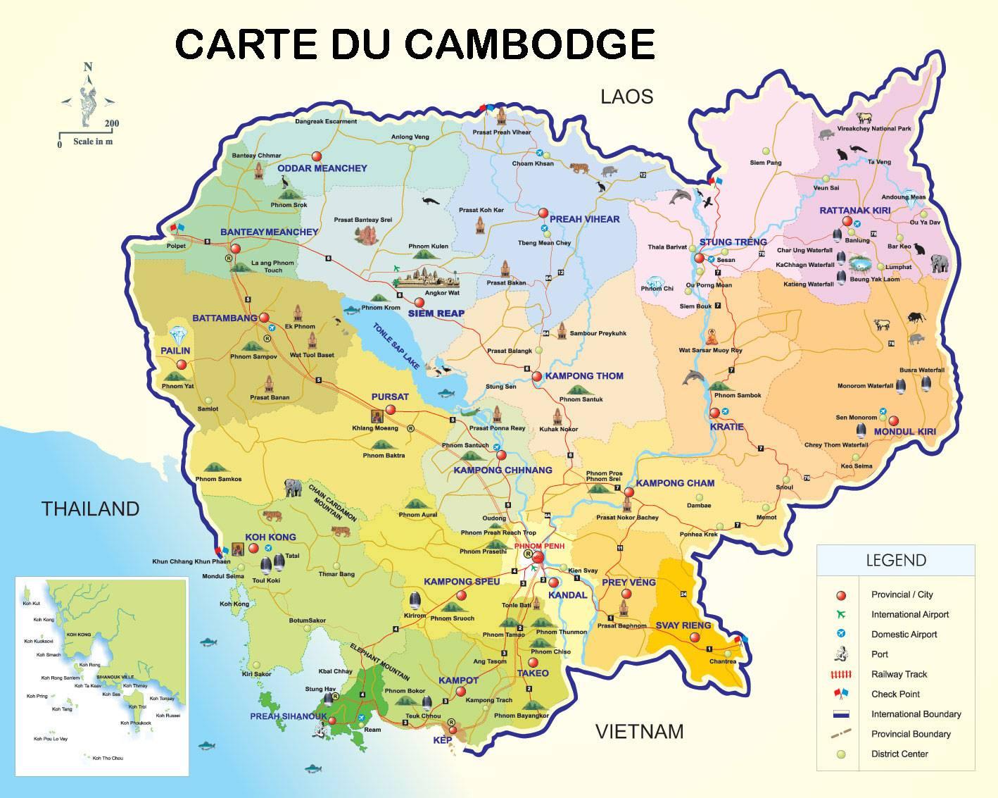 Carte touristique du Cambodge