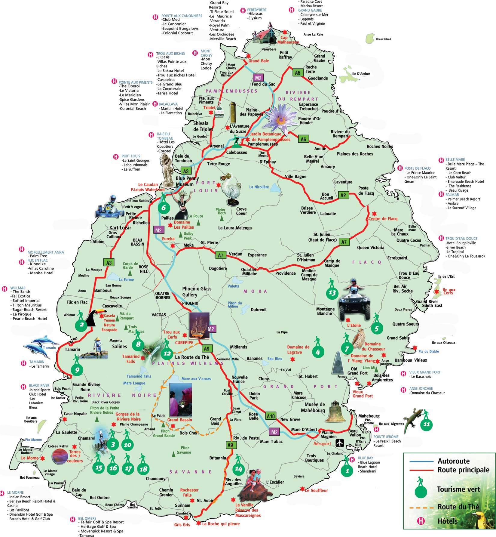 Carte touristique de l'Île Maurice