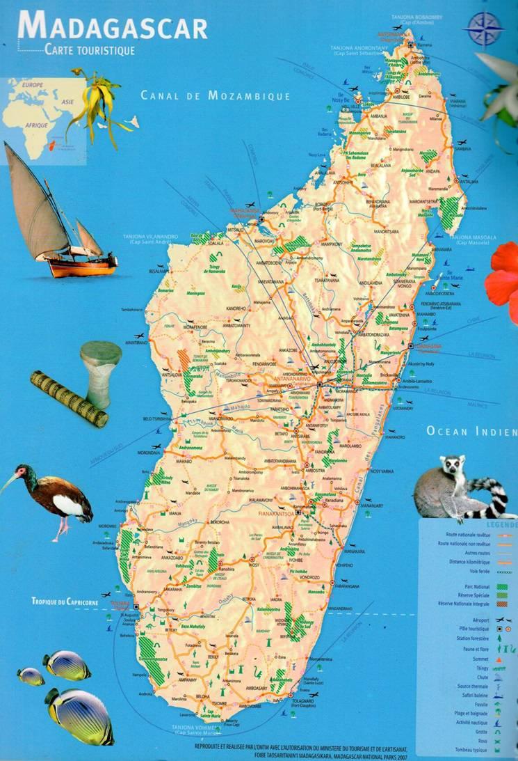 Carte touristique de Madagascar