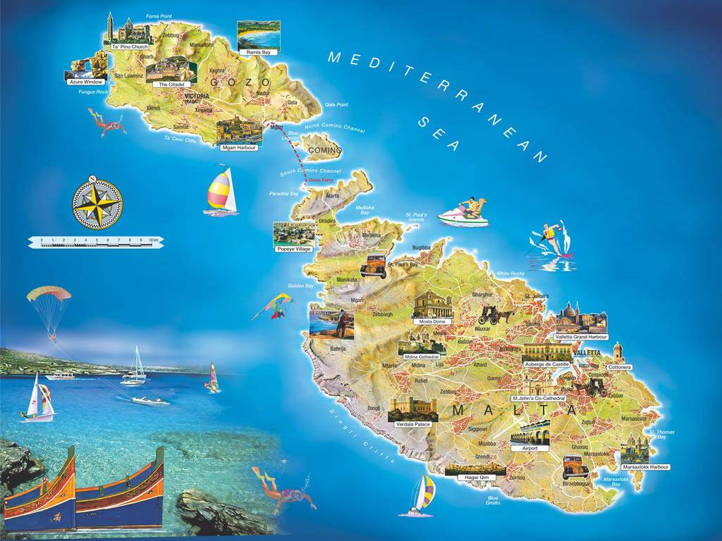 Carte touristique de Malte