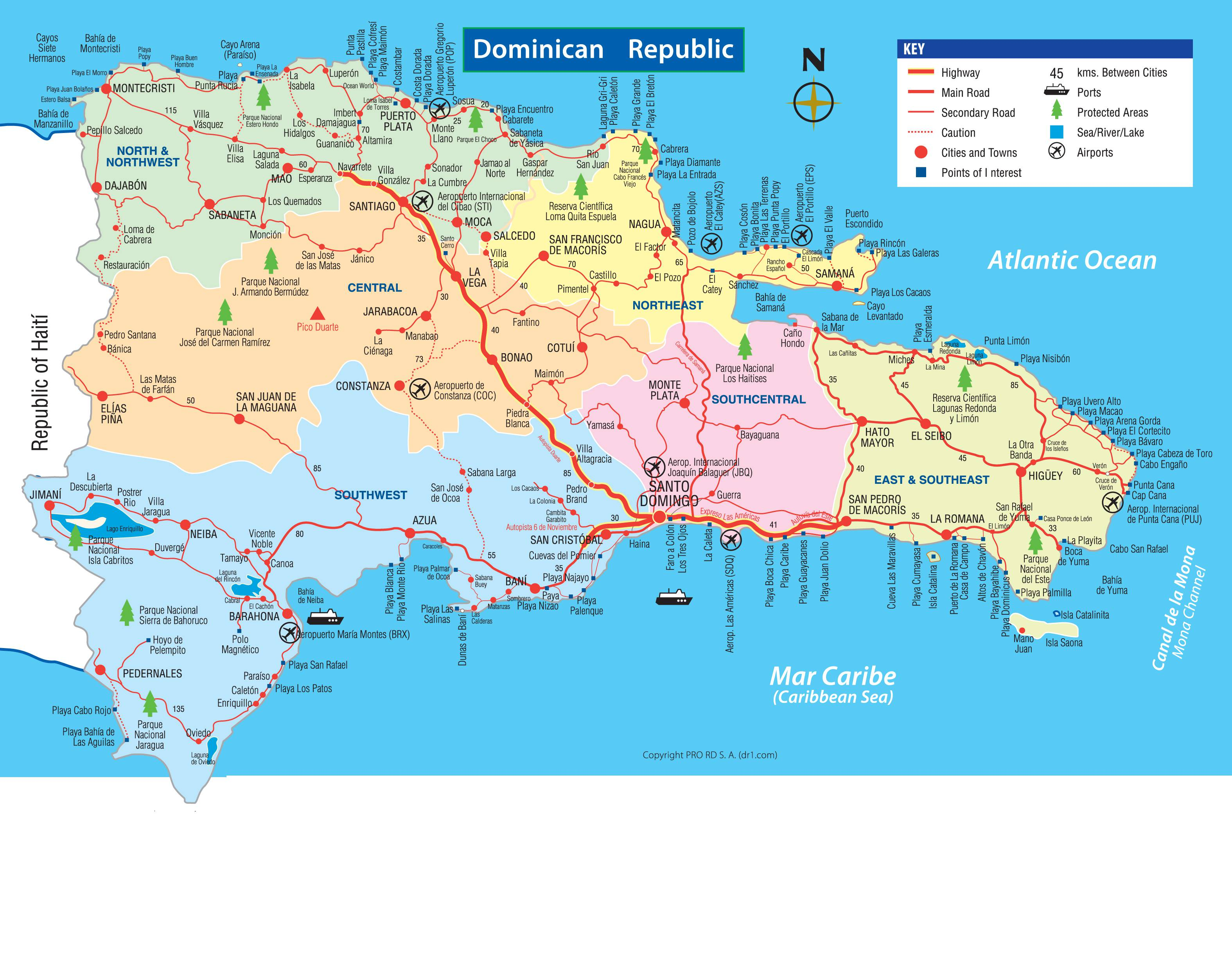 Carte Routière République Dominicaine | tonaartsenfotografie