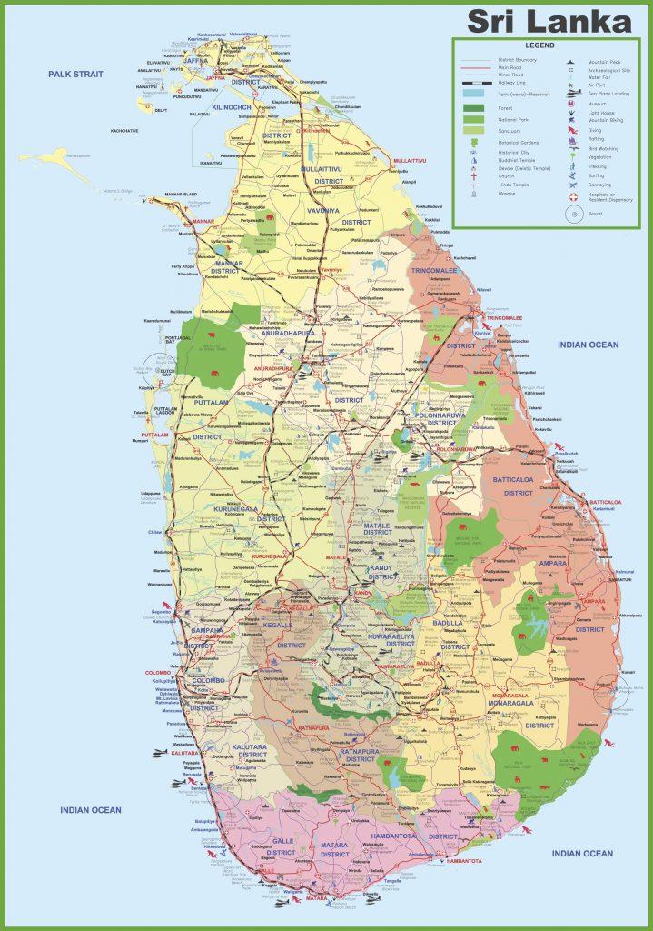 Carte touristique du Sri Lanka