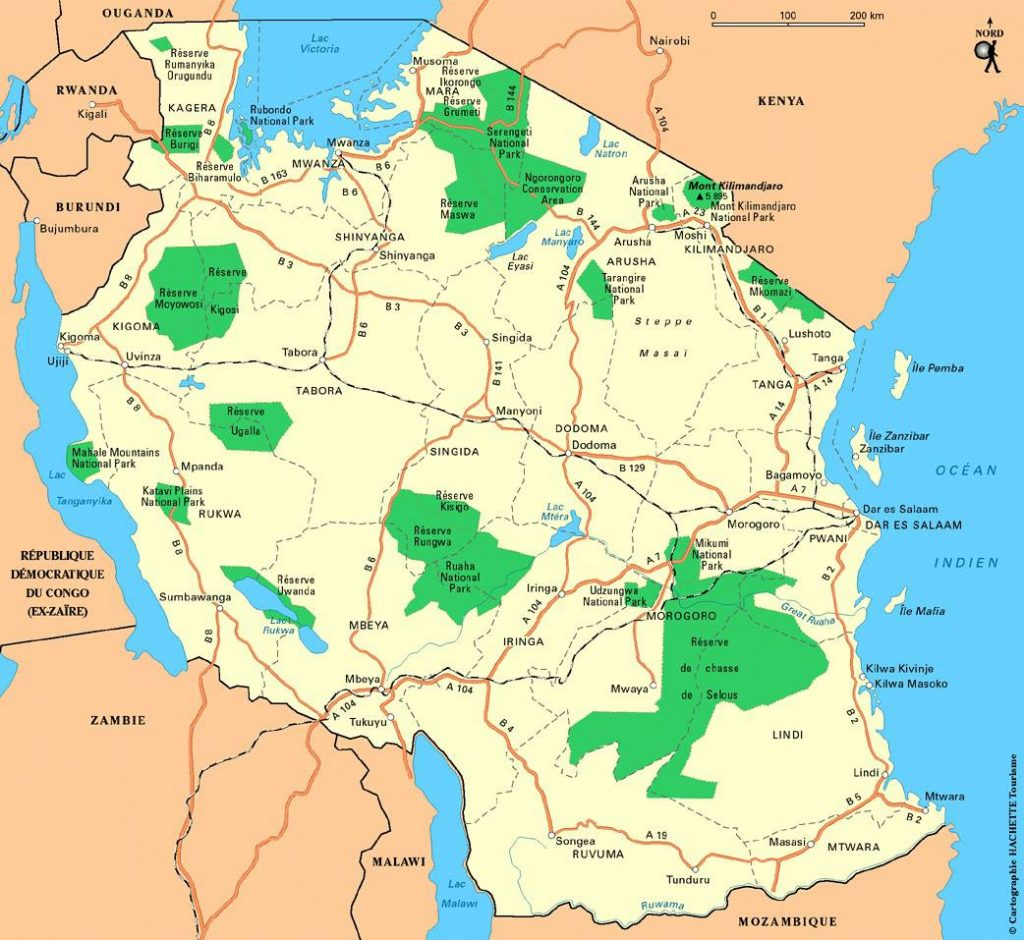 Carte touristique de la Tanzanie
