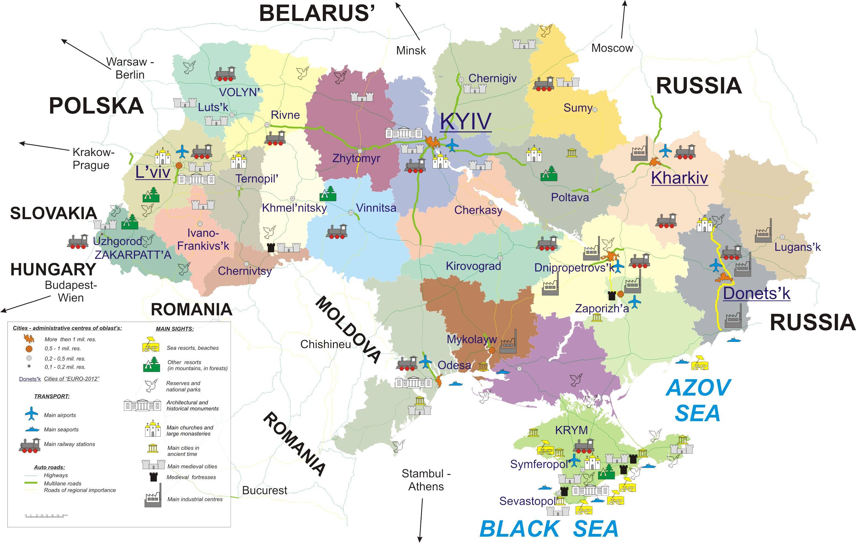 Carte touristique de l'Ukraine