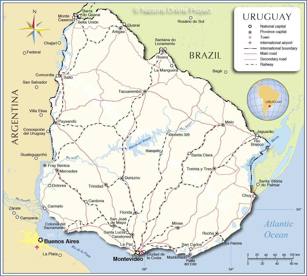 Carte de l'Uruguay