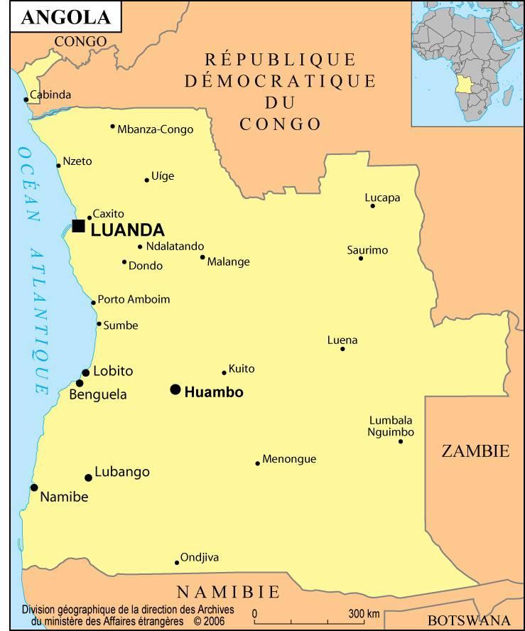 Carte des villes de l'Angola