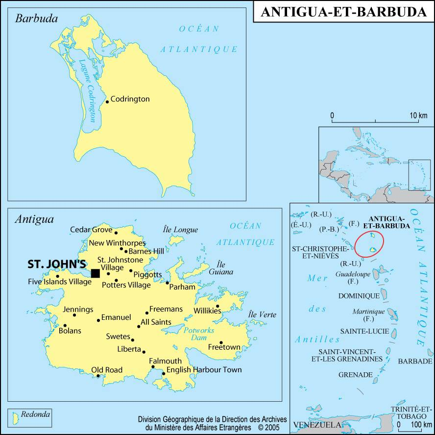 Carte d'Antigua-et-Barbuda