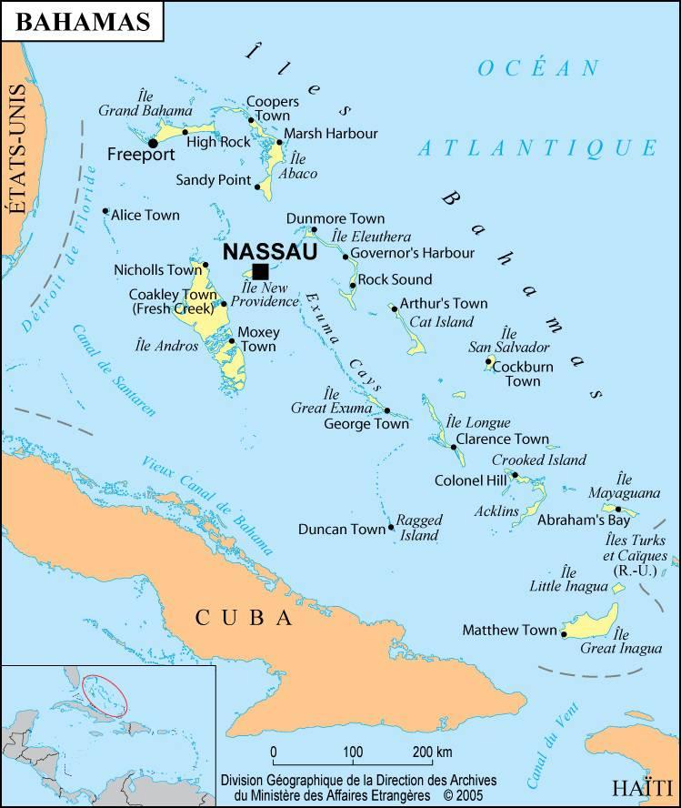 Carte des villes des Bahamas