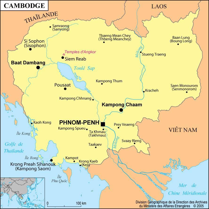 Carte des villes du Cambodge