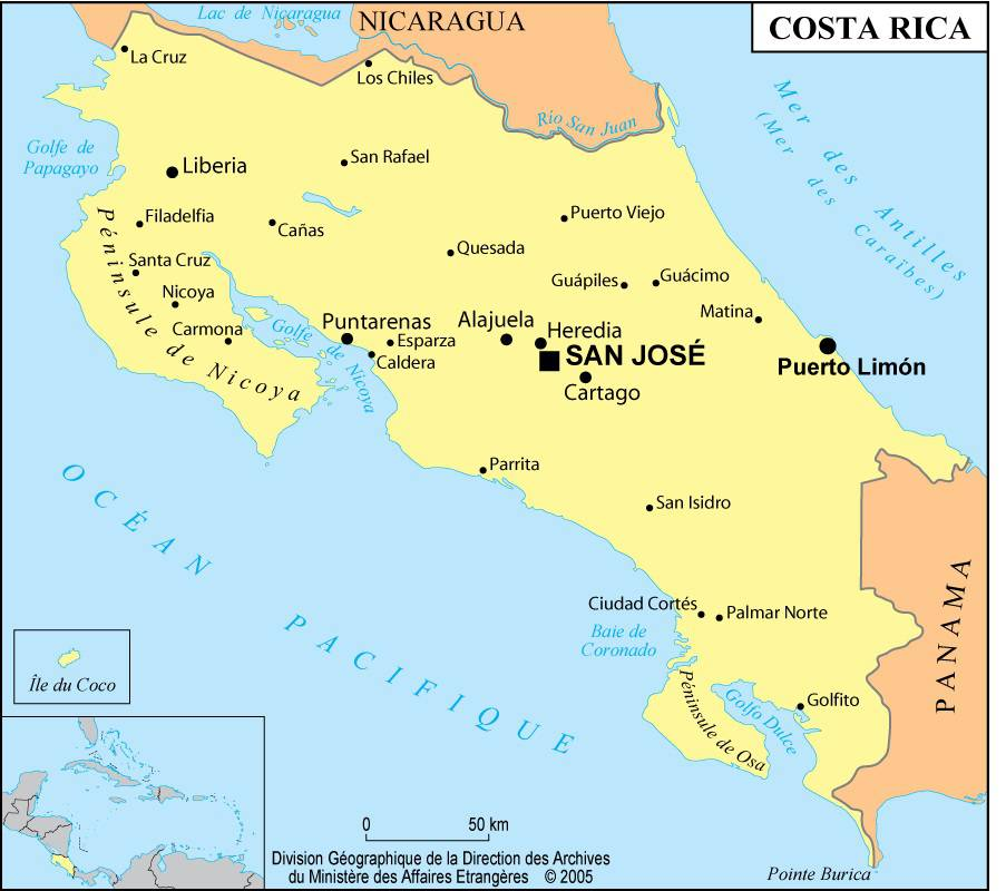 Carte des villes du Costa Rica