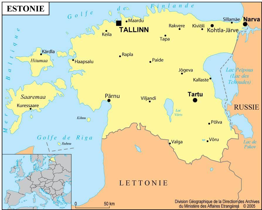 Carte des villes de l'Estonie