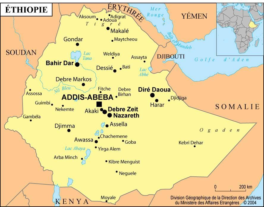 Carte des villes de l'Ethiopie