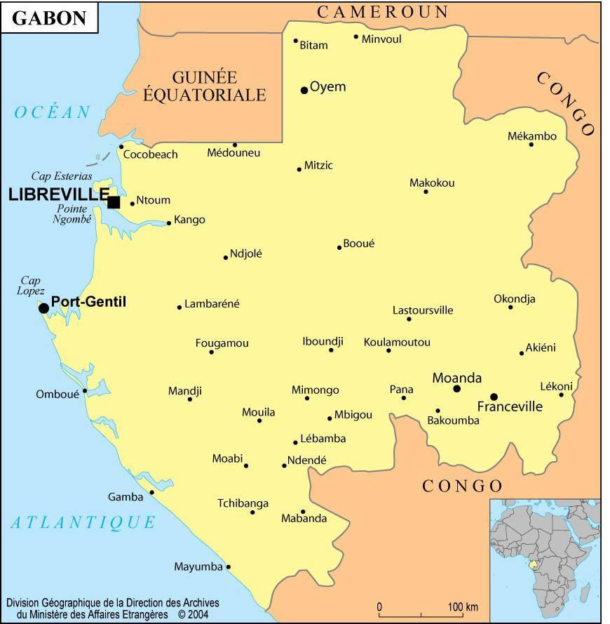 Carte des villes du Gabon