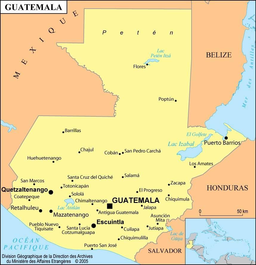 Carte des villes du Guatemala