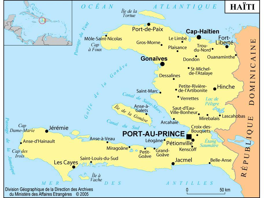 Carte des villes d'Haïti