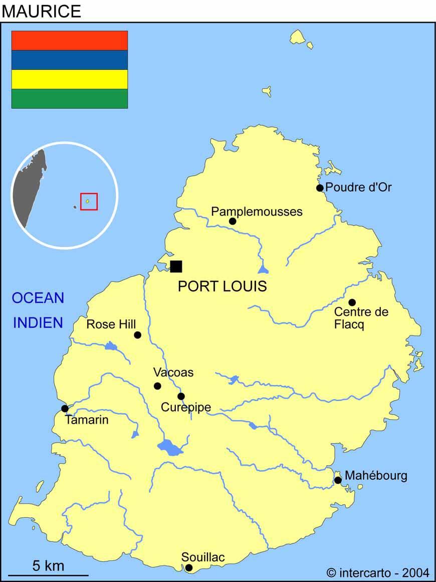 Carte des villes de l'Île Maurice