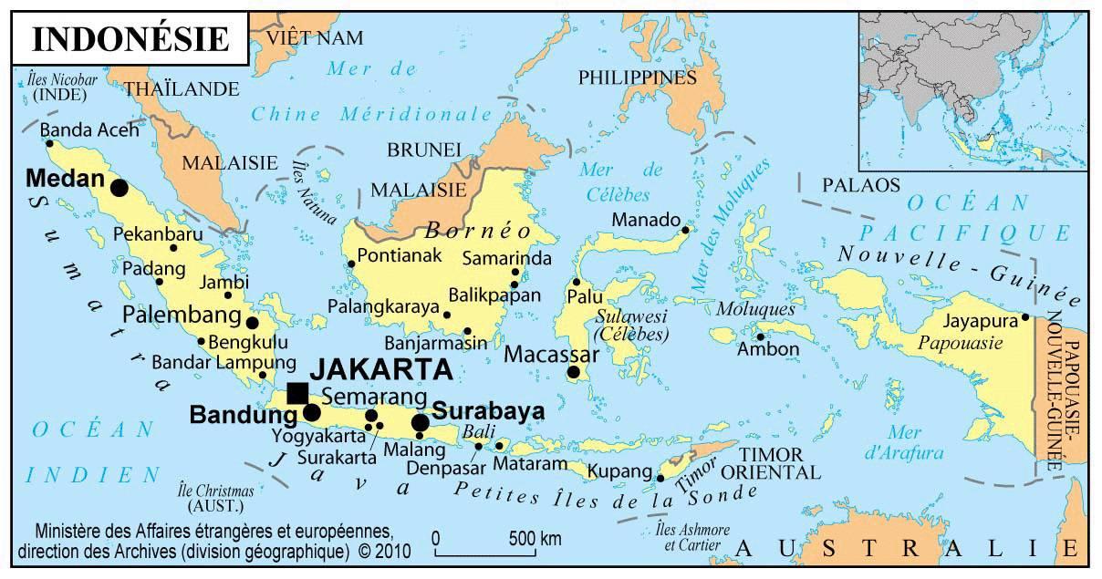 Carte des villes de l'Indonésie
