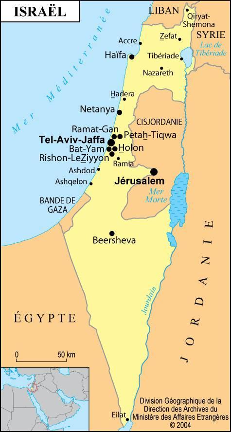 Carte des villes d'Israël