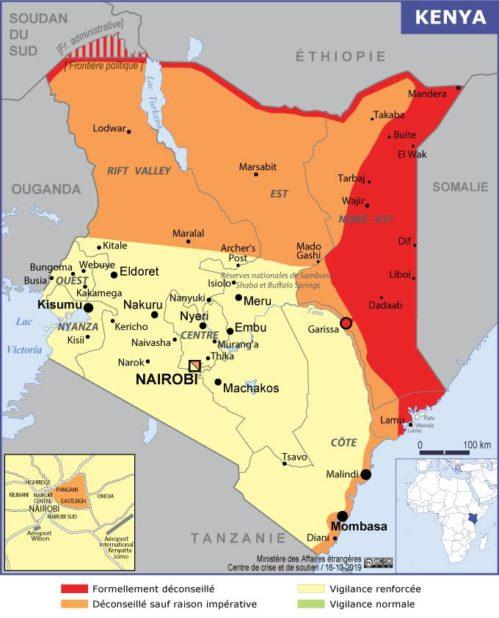 Carte des villes du Kenya