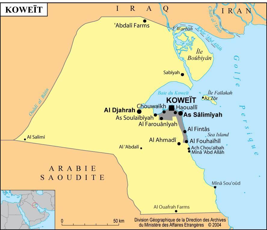 Carte des villes du Koweït