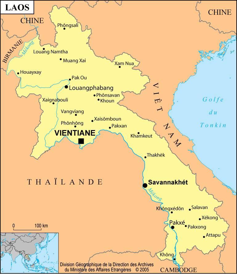 Carte des villes du Laos