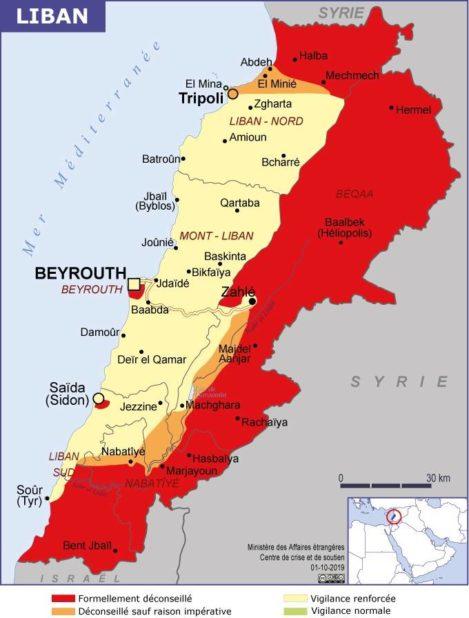 Carte des villes du Liban