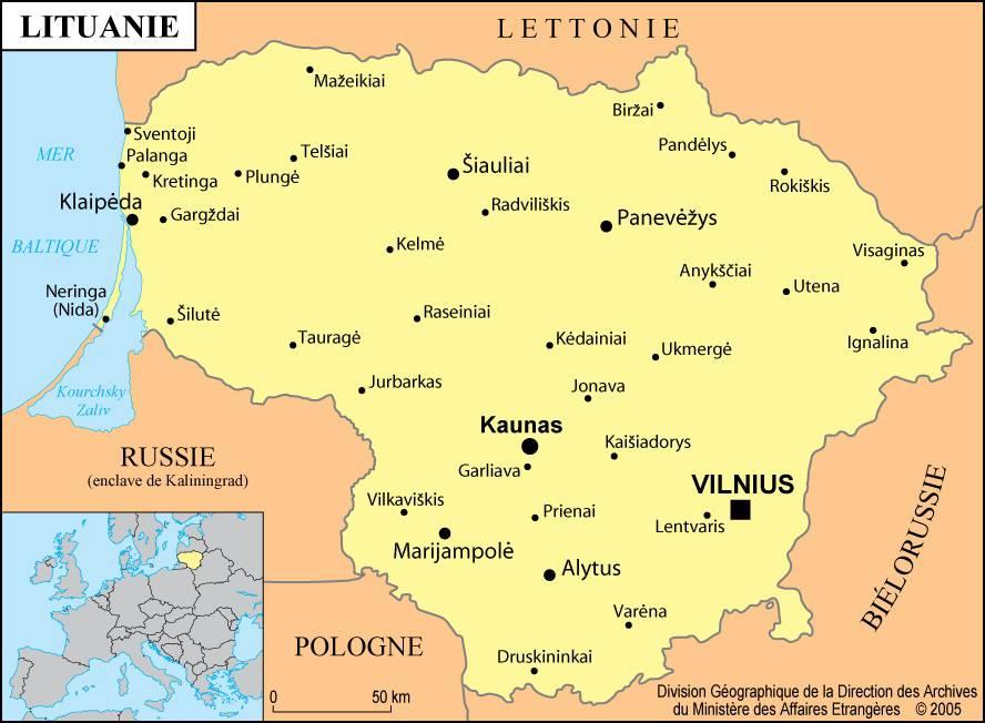 Carte de la Lituanie   Plusieurs cartes du pays européen et balte