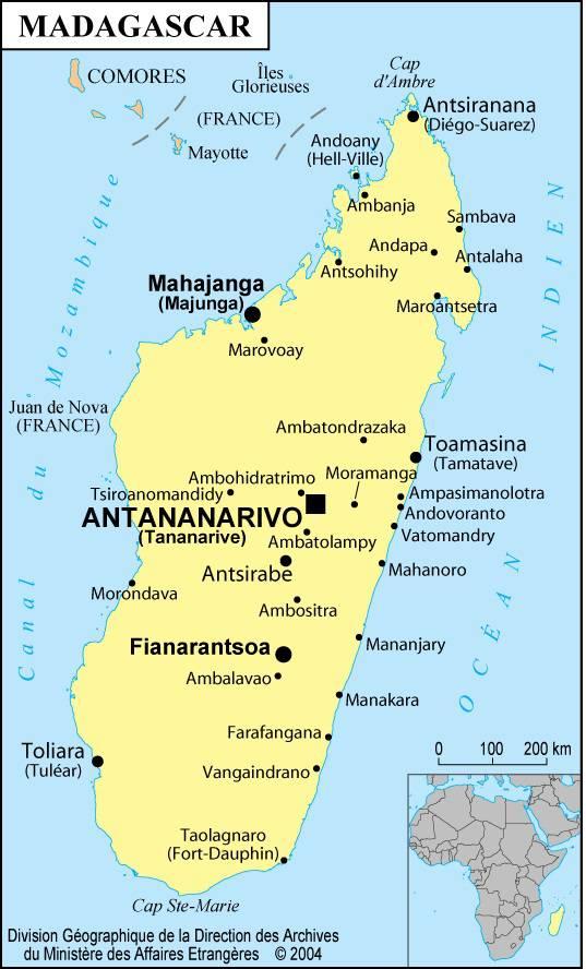 Carte des villes de Madagascar
