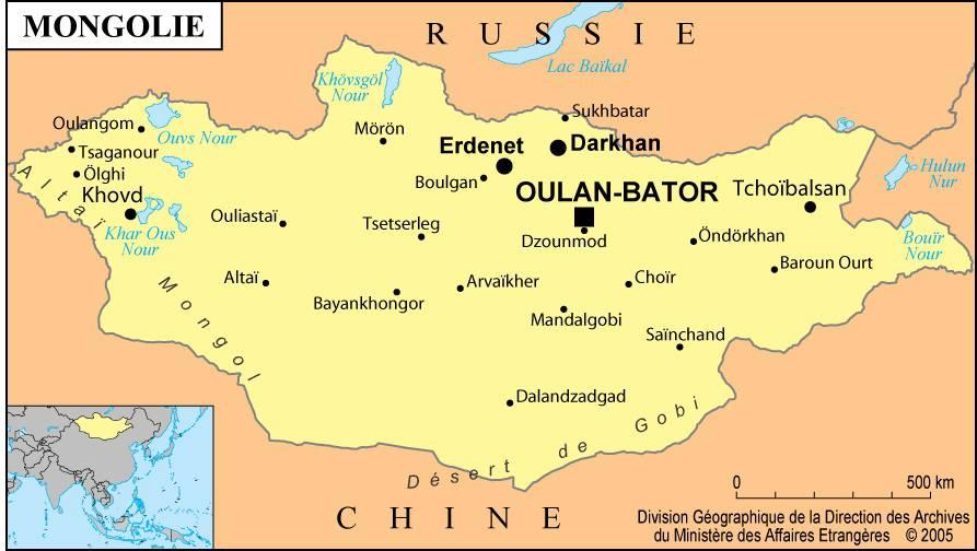 Carte des villes de Mongolie
